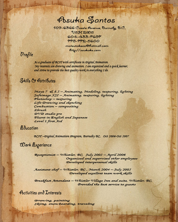 Resume | Asuka's Room